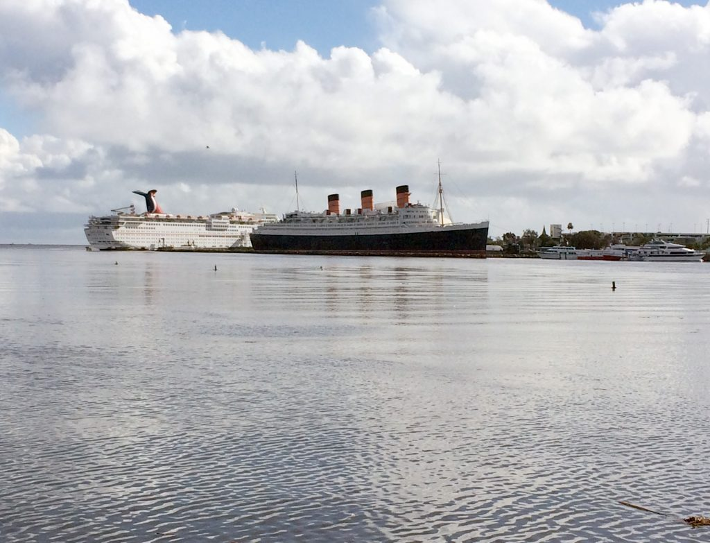 The HMS Queen Mary from across the bay.