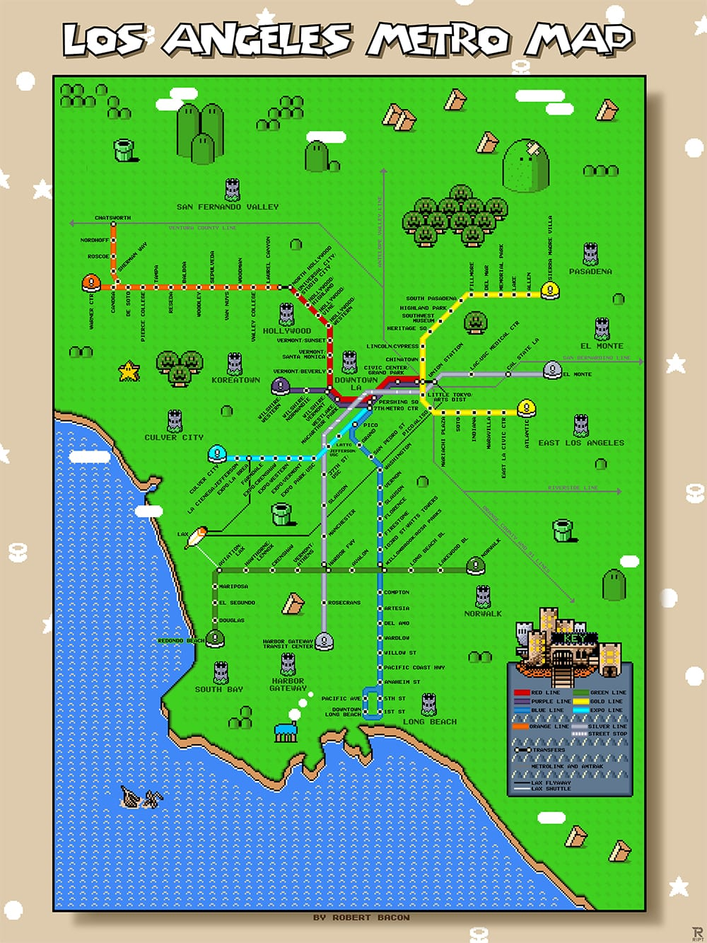 L.A. Metro Super Mario map (via ChicagoNow, created by Robert Bacon)