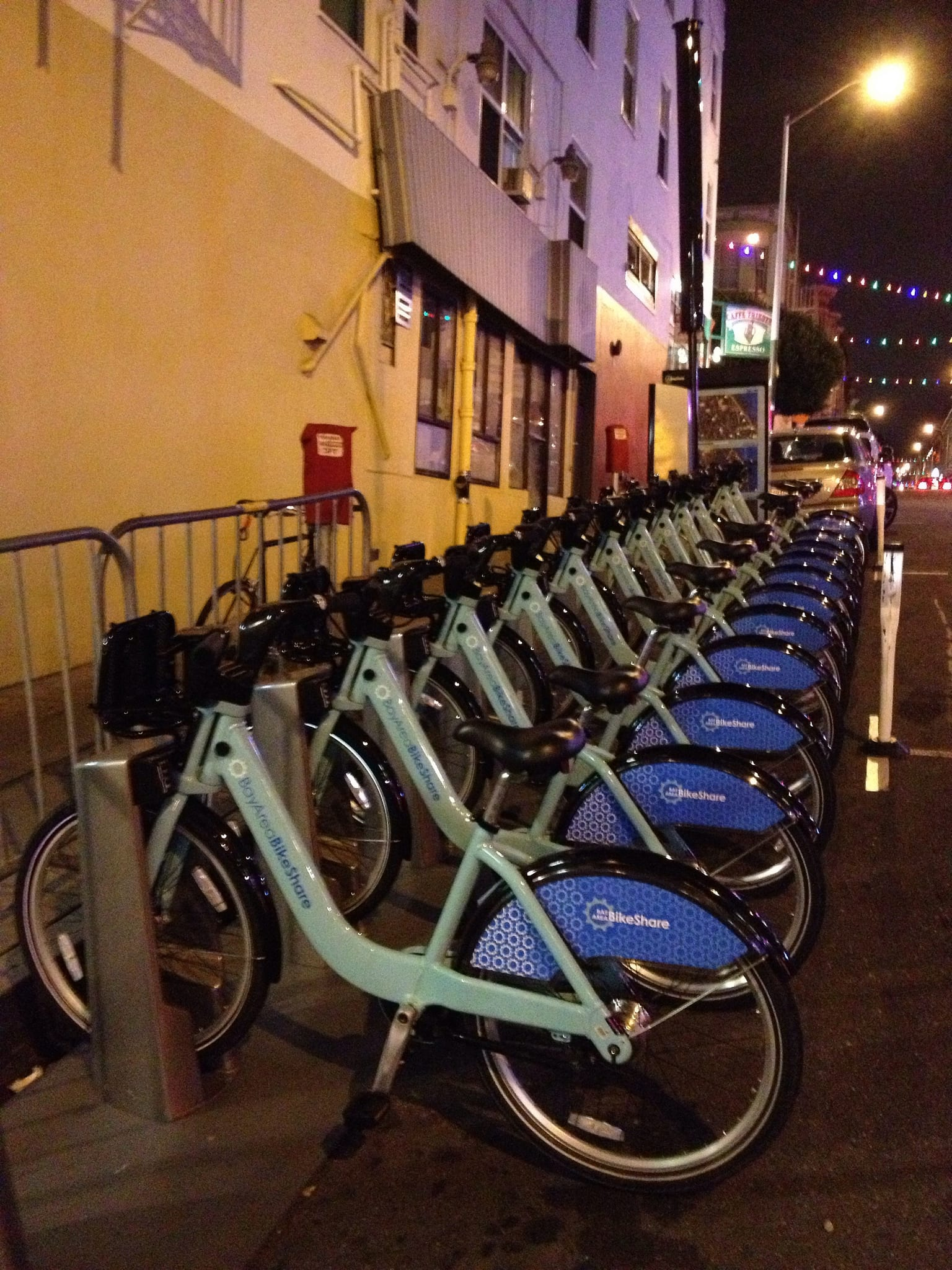 A bike share station in the Bay Area. Photo by Naotake Murayama, via Flickr creative commons.