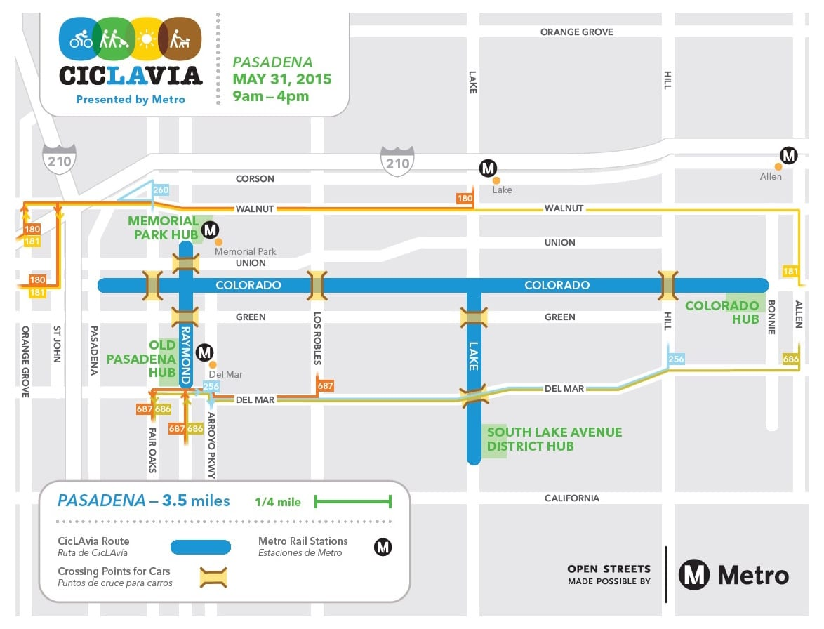 ciclavia pasadena detour map