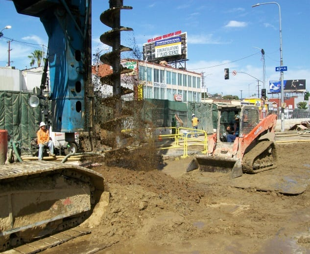 Pile installation at Crenshaw and Vernon. Photo: Metro.