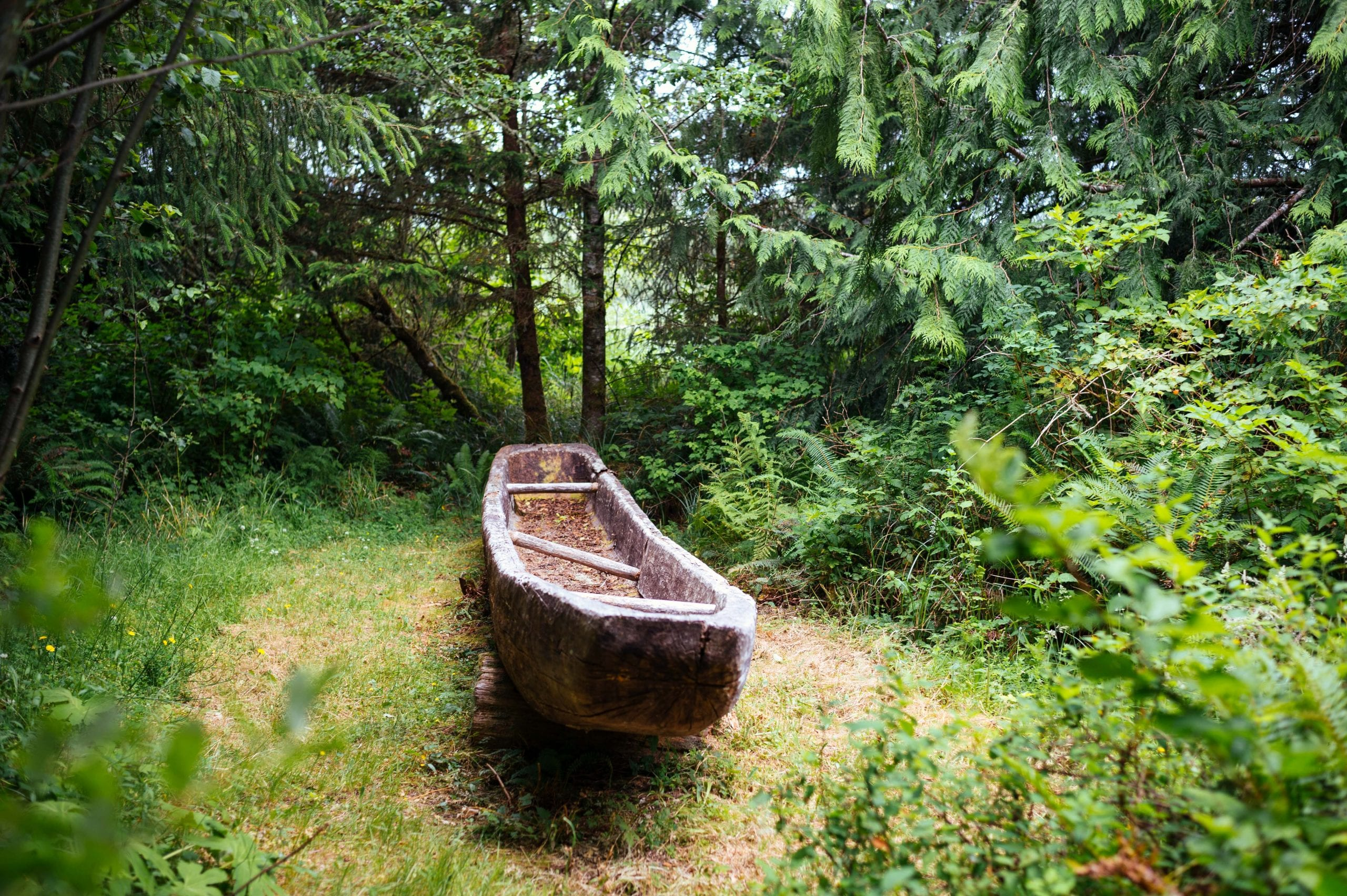 ART OF TRANSIT: Replica of a dugout canoe used by Lewis and Clark and the Corps of Discovery at Fort Clatsop National Historic Park near Astoria, Oregon. The explorers spent the soggy winter of 1805-06 at the fort. While I normally would offer massive hugs to our friends at the National Park Service, I thought the visitor center was just so-so and could have been so much better with some imagination (and Benjamins). Photo: Steve Hymon.
