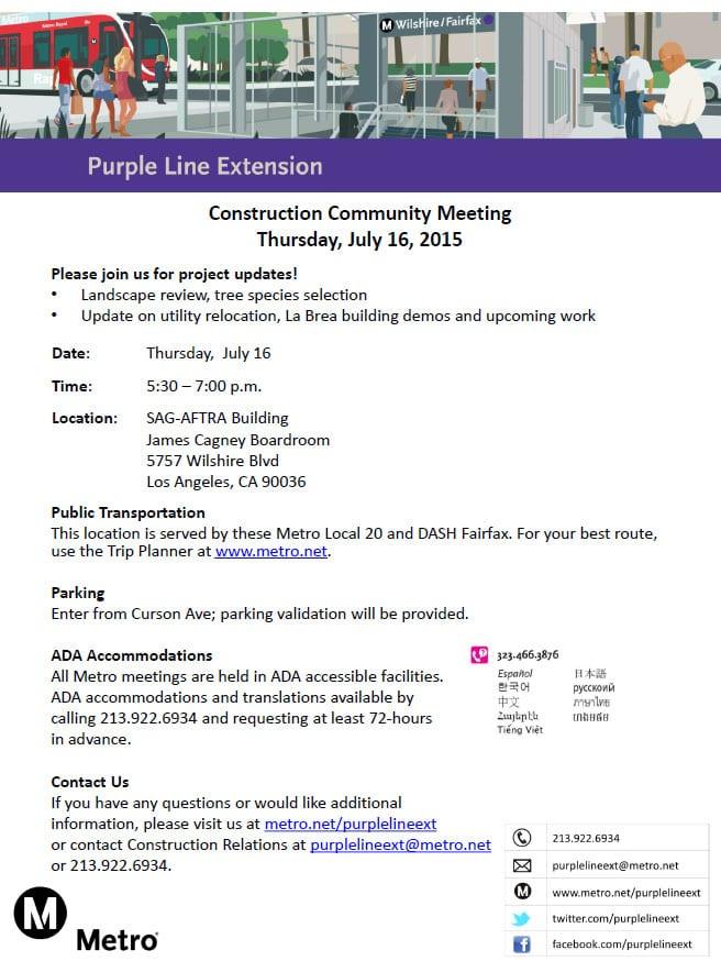 Purple Line Construction Community Meeting Notice