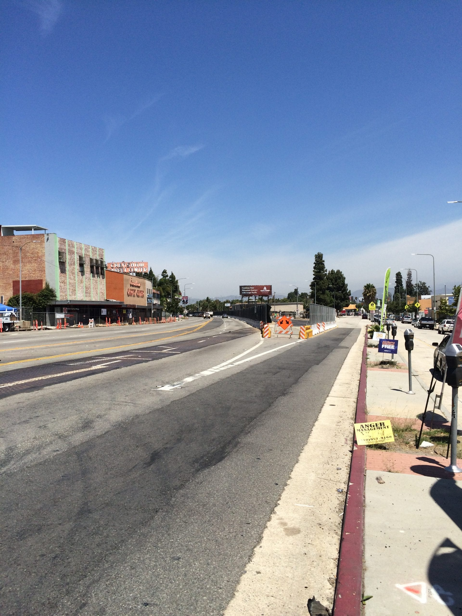Looking north on Crenshaw Boulevard at 48th Street where weekend closures will take place beginning this Friday, Aug. 28.