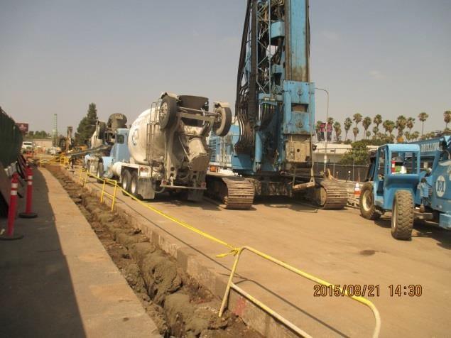 Preparing to start drilling soldier piles on the UG4 segment.