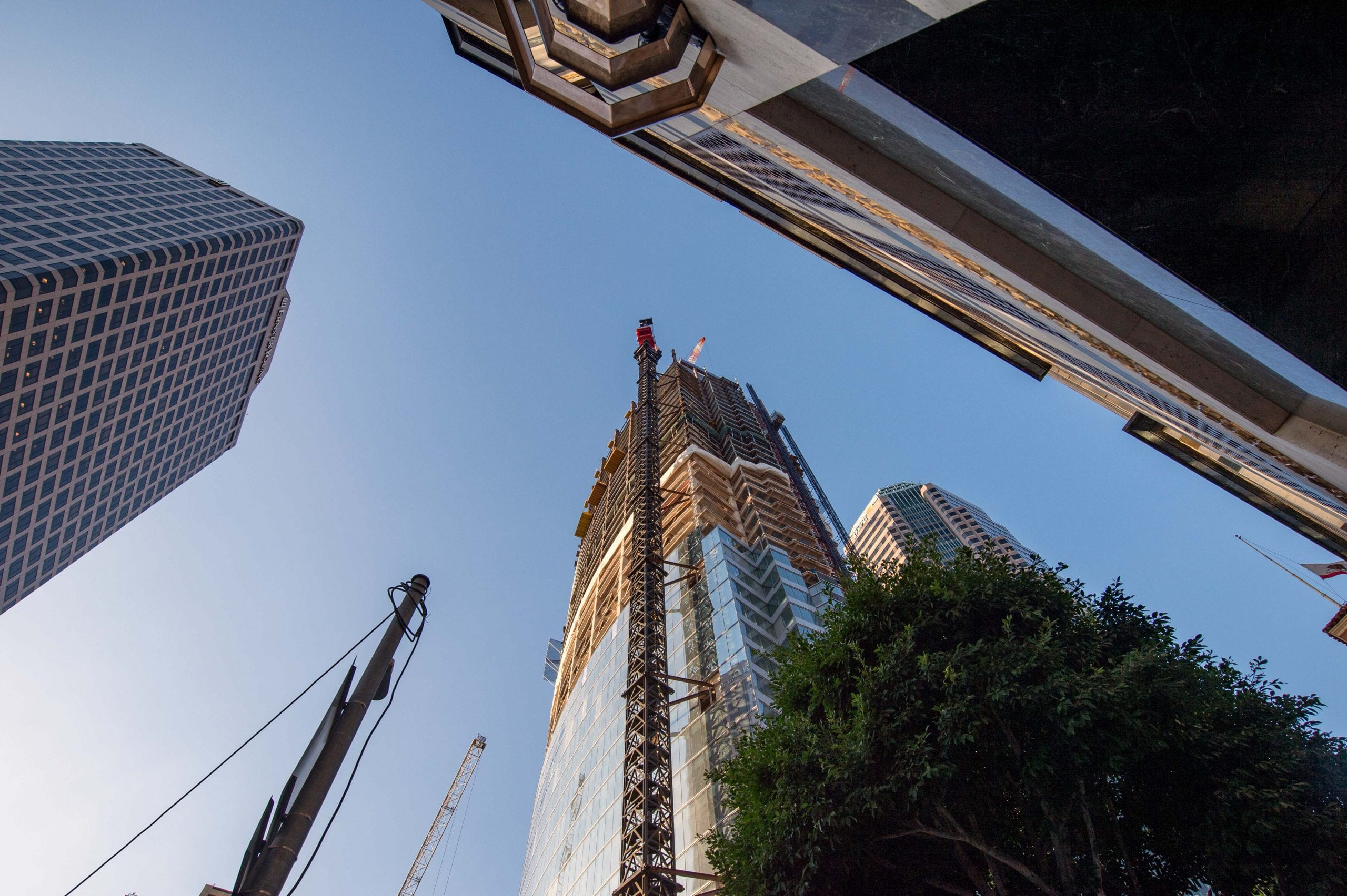 The view outside the 7th/Figueroa entrance to 7th/Metro Center Station in DTLA. That's a big building, people -- and still to get bigger. Photo by Steve Hymon.