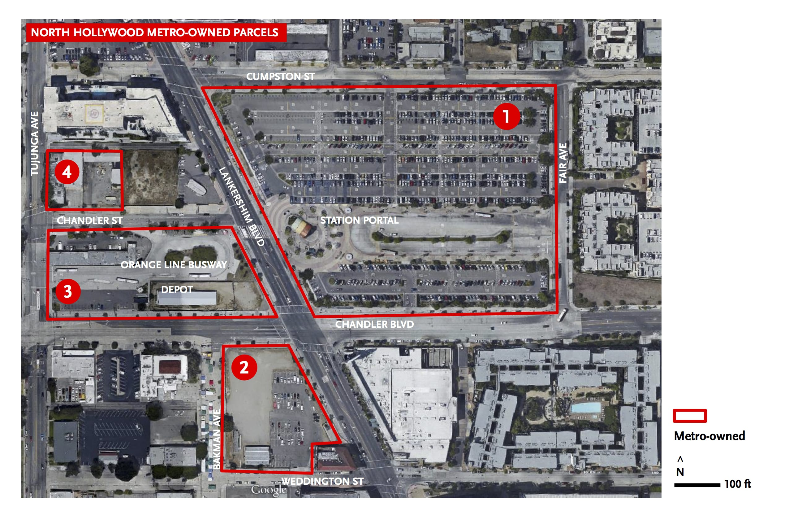 A bird's eye view of the current parking lot at the North Hollywood Red Line Station.