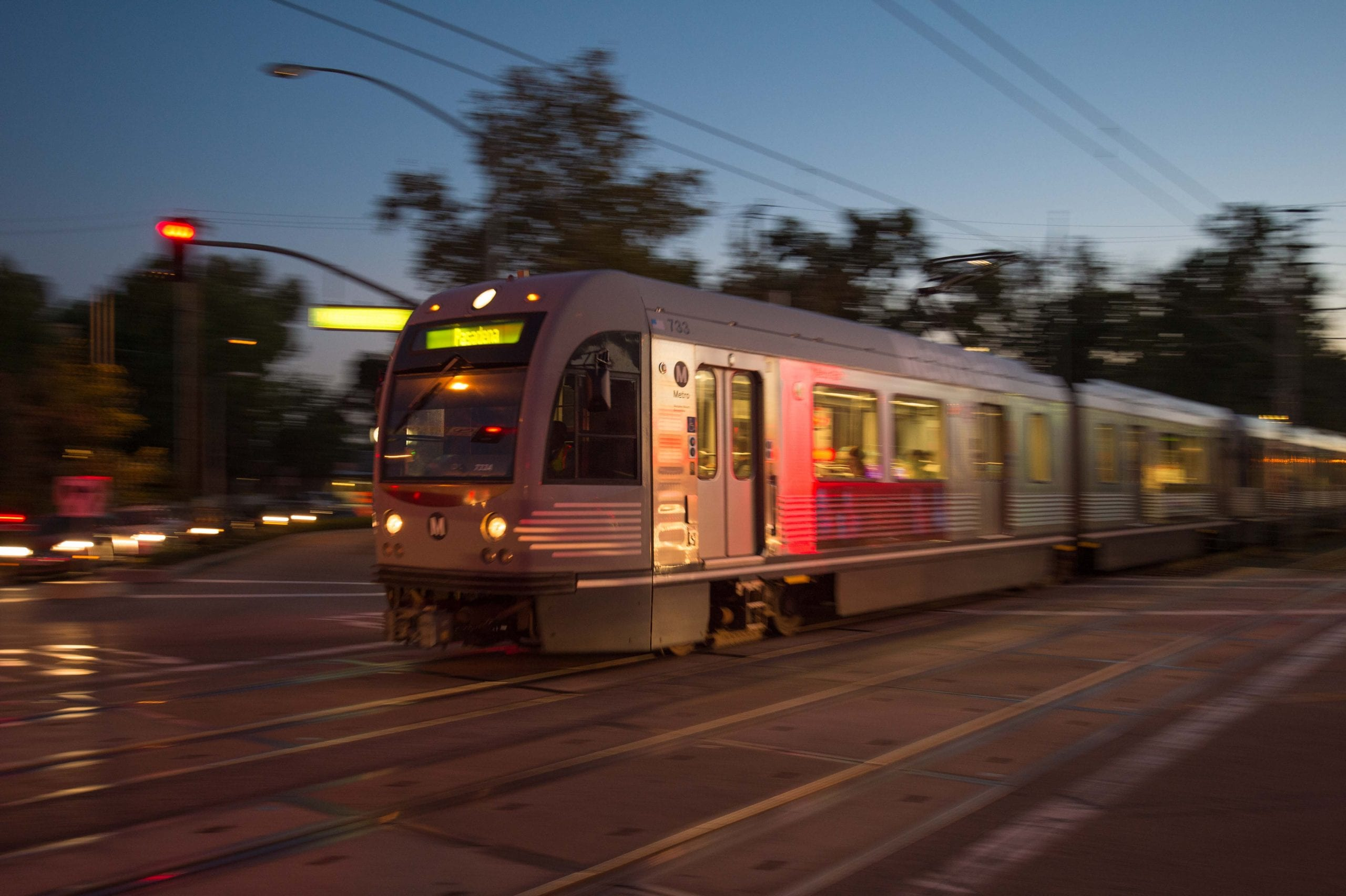 The Gold Line leaving South Pasadena Station on a recent evening. Photo: Steve Hymon/Metro.