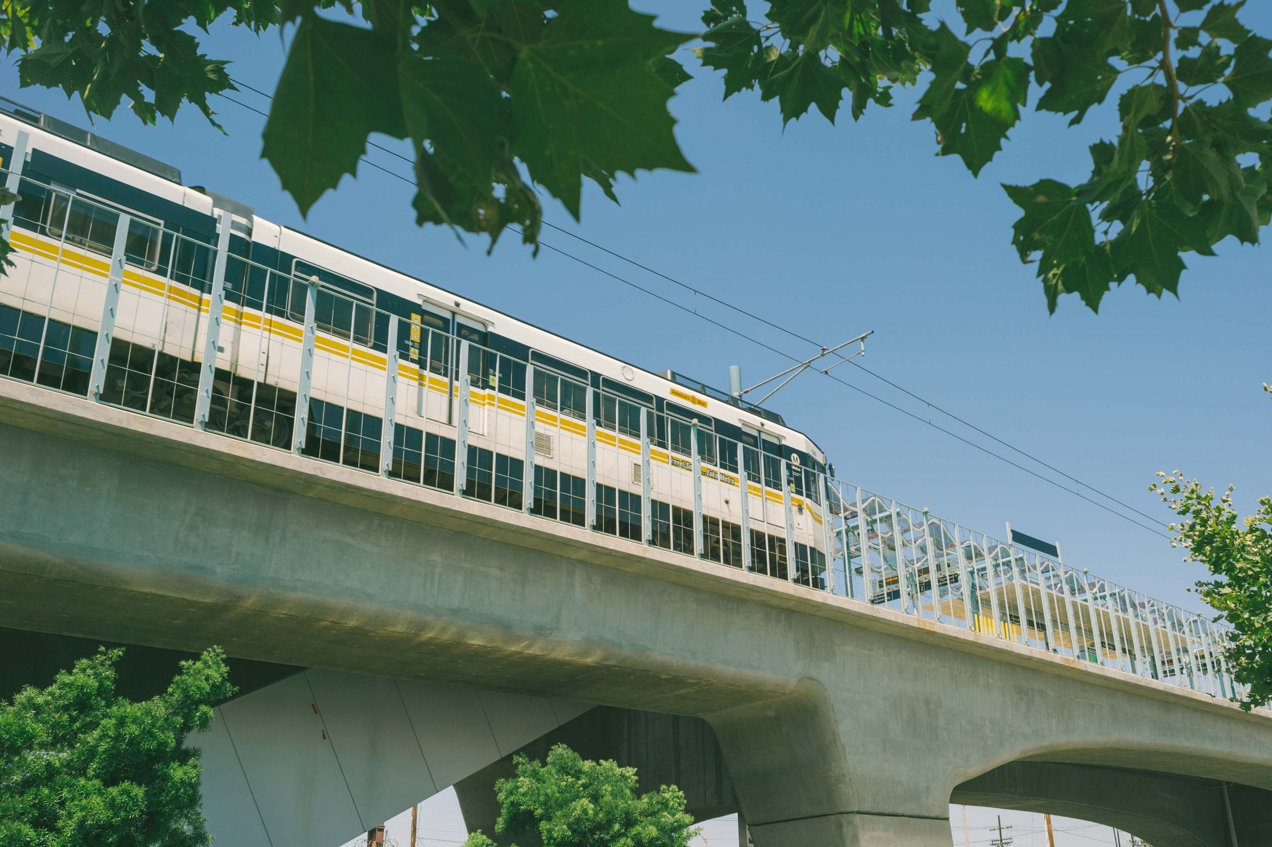 An eastbound Expo Line train at La Brea Station. Photo by Steve Hymon/Metro.