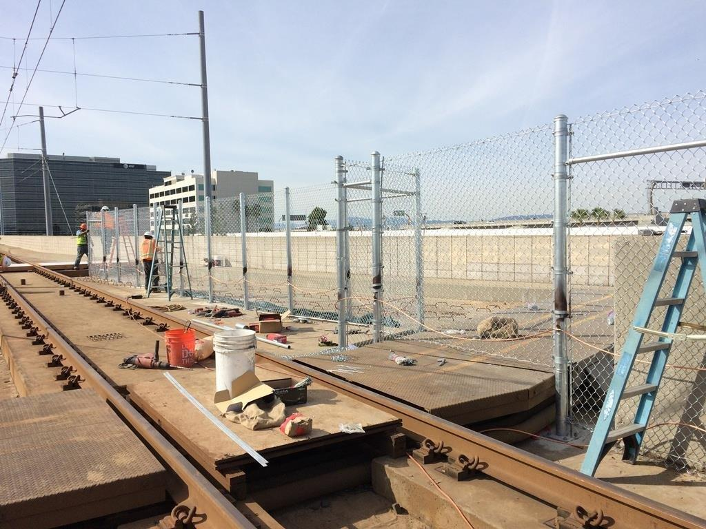 Work on the existing Green Line tracks near junction with the future Crenshaw/LAX Line tracks.