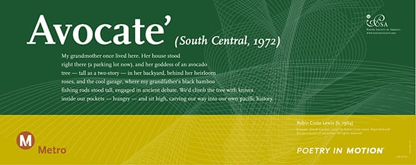 """""""Avocate' (South Central, 1972)"""" by Robin Coste Lewis"""