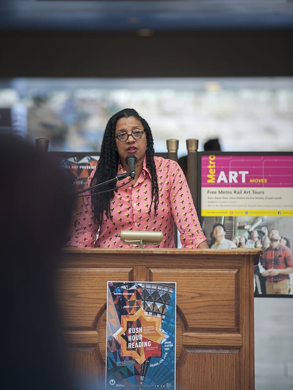 """Poet Robin Coste Lewis reading from her work as part of """"Rush Hour Reading"""" at Union Station in April 2015"""