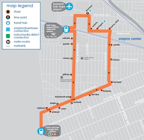 burbank bus airport map