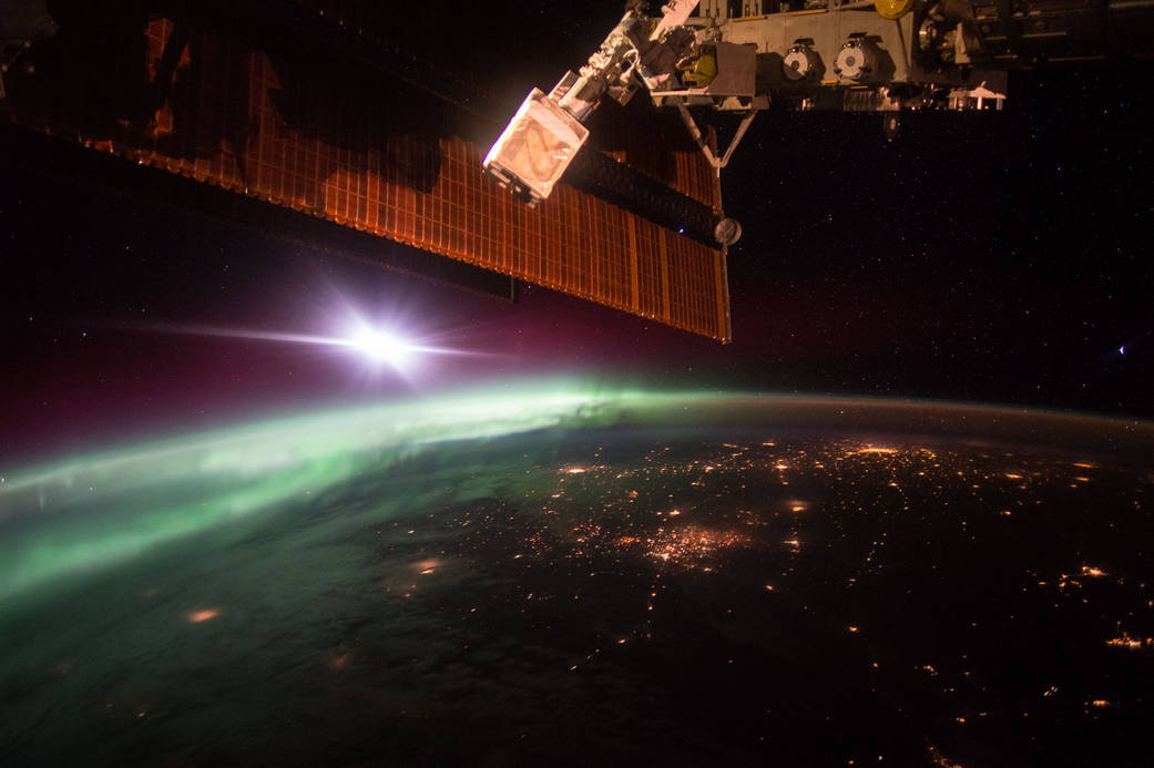 Earth and a morning aurora as seen from the International Space Station. Photo: NASA.