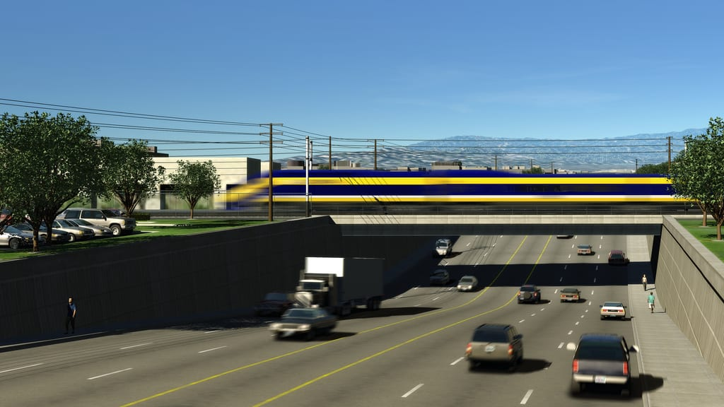 Will the bullet train make it first to SoCal or the Bay Area? Or either? Rendering: California High-Speed Rail Authority.