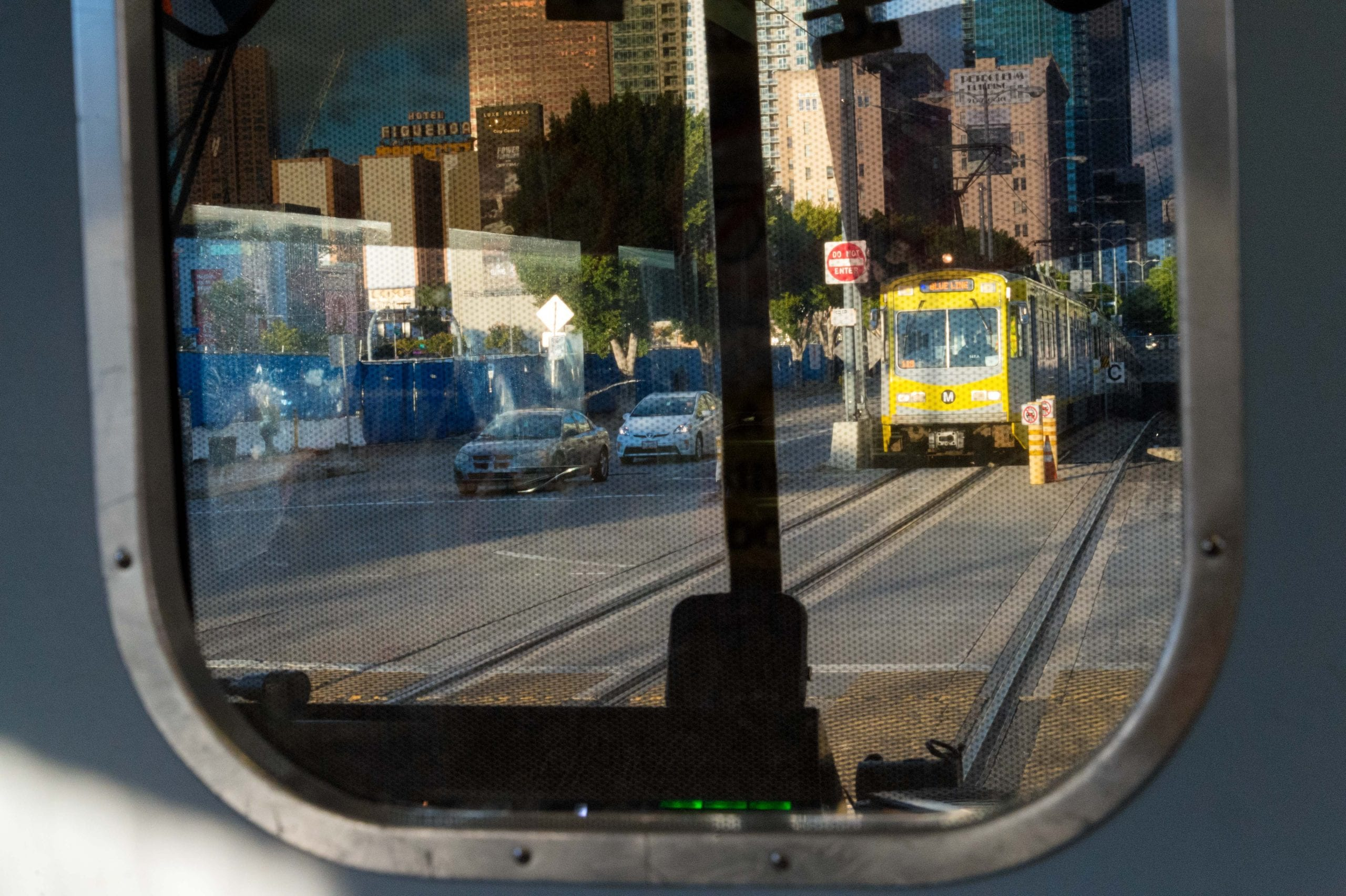 Looking through the front of a northbound Expo Line train headed to 7th/Metro Center. Photo by Steve Hymon/Metro.