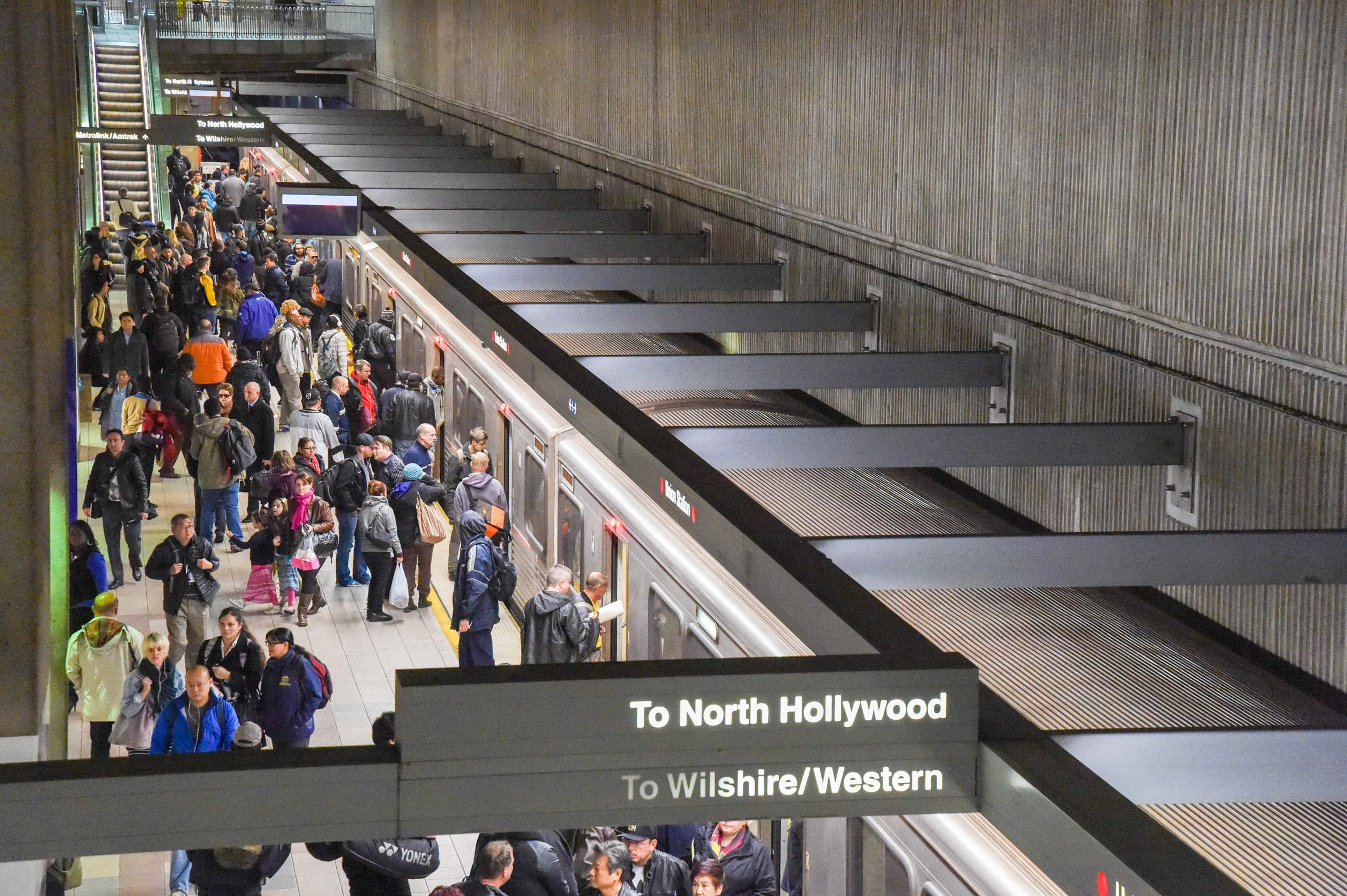 The Red/Purple Line Station at Union Station during the afternoon rush hour in early January. Photo by Steve Hymon/Metro.