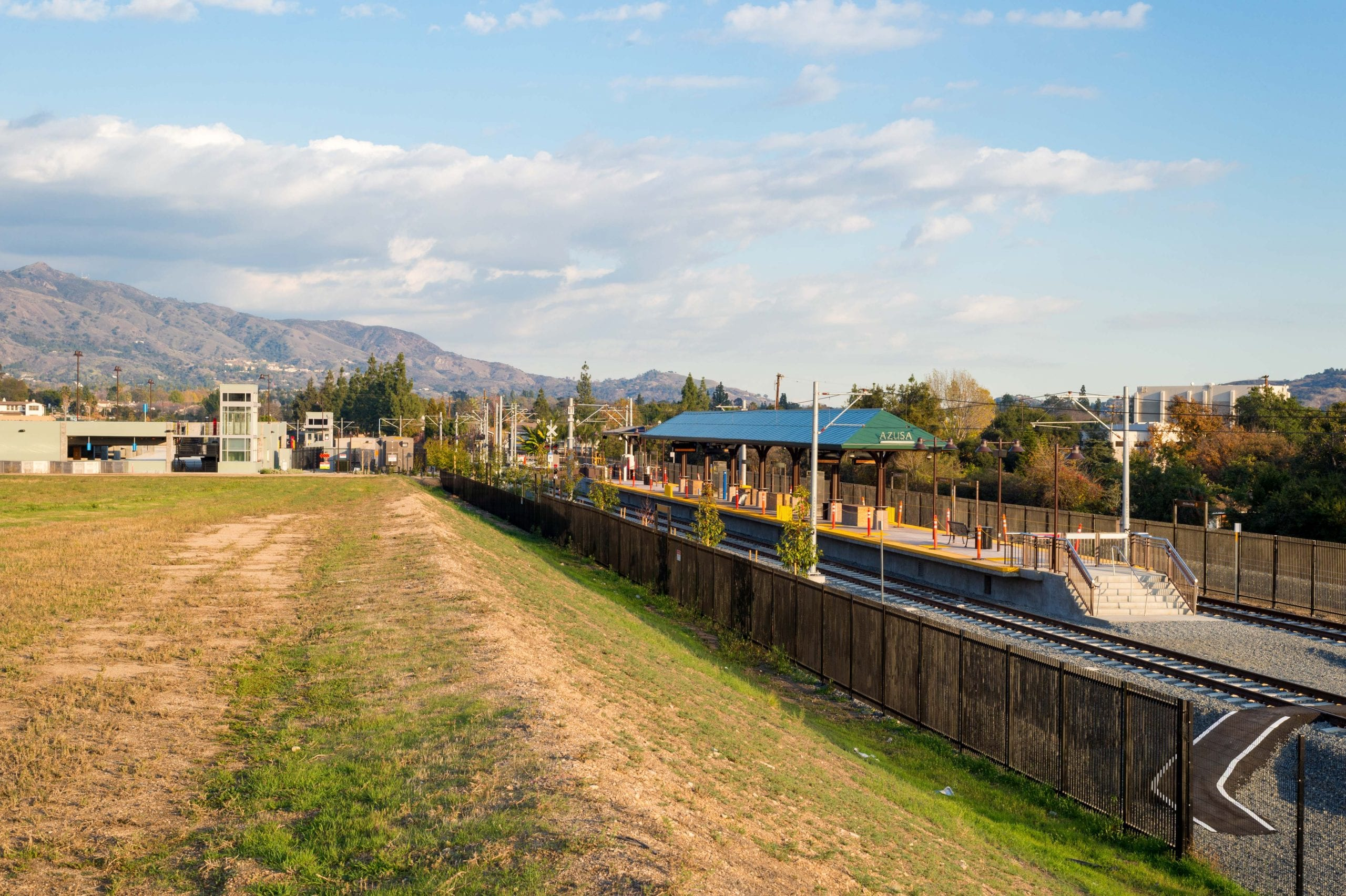 The Gold Line station adjacent to Azusa Pacific University, Citrus College and the Rosedale development. Citrus Avenue will run under the tracks, connecting East Promenade to Foothill Boulevard.