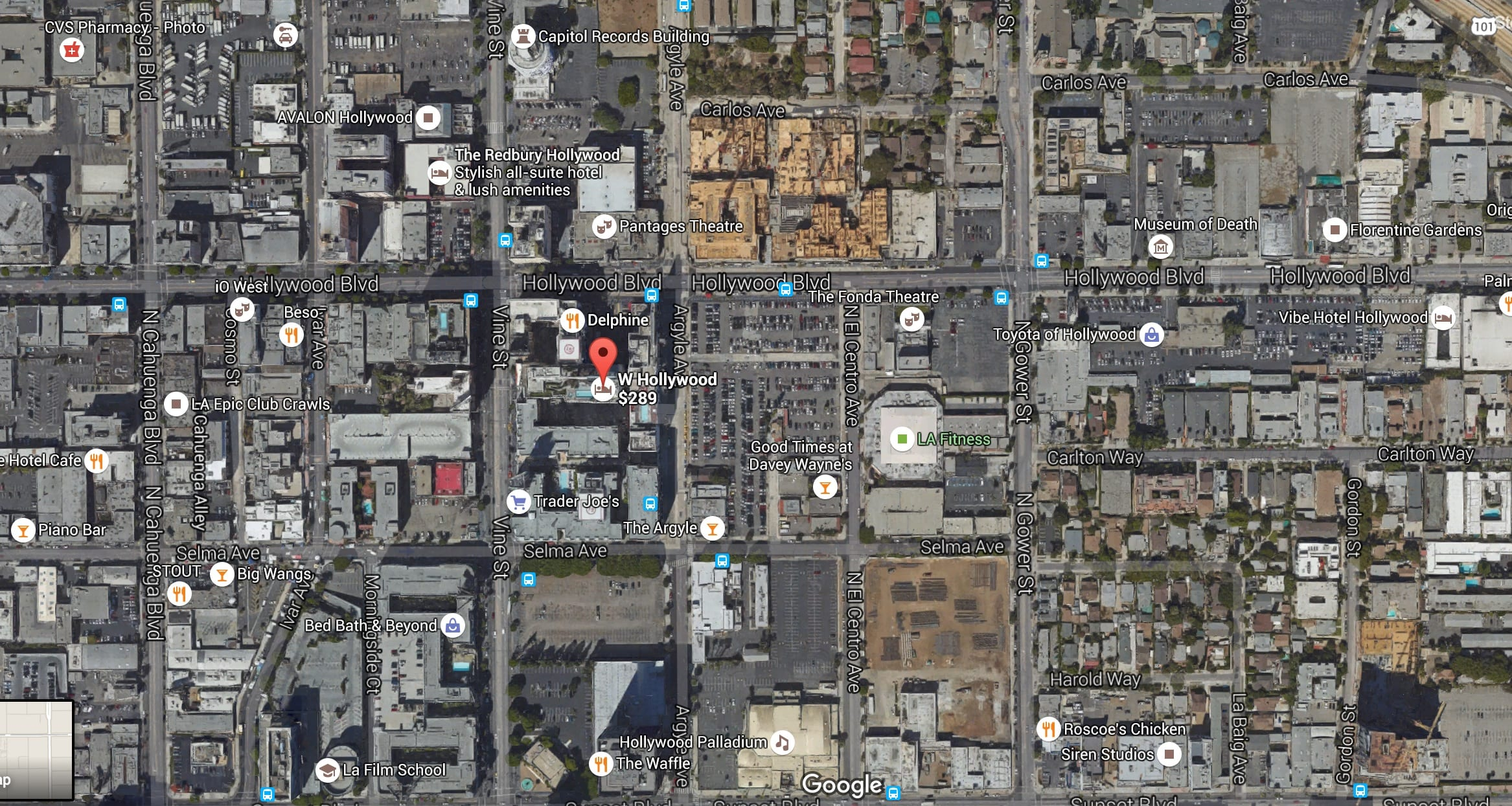 There's no shortage of parking lots on the eastern side of Hollywood, as this view courtesy of Google Maps shows.