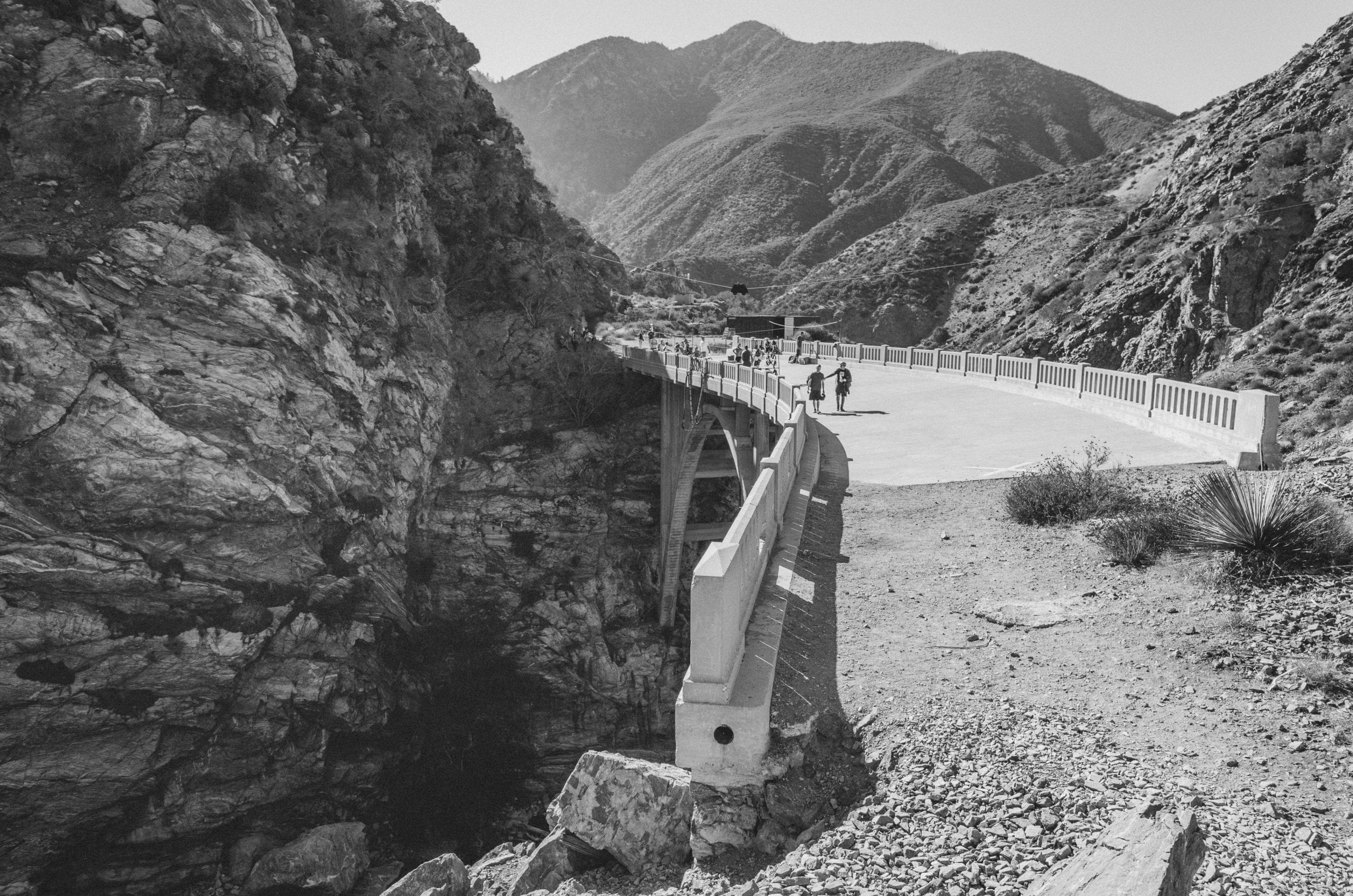 The Bridge to Nowhere on the East Fork of the San Gabriel River. Perhaps not the greatest place in the world to build a highway between Azusa and Wrightwood, thus the reason the highway was never finished -- much of it washed away in floods in the 1930s. Photo by Steve Hymon/Metro.