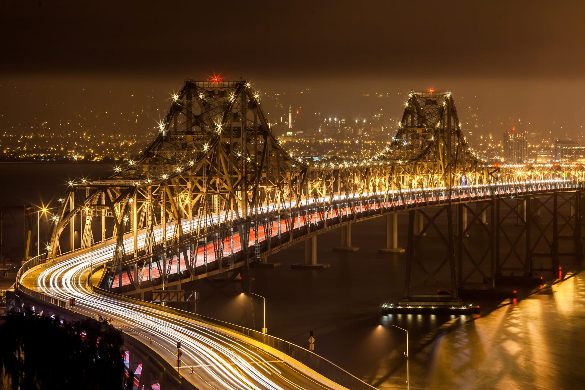 The Oakland Bay Bridge in 2011 -- while work continued on a replacement for part of the span. Photo by Thomas Hawk, via Flickr creative commons.