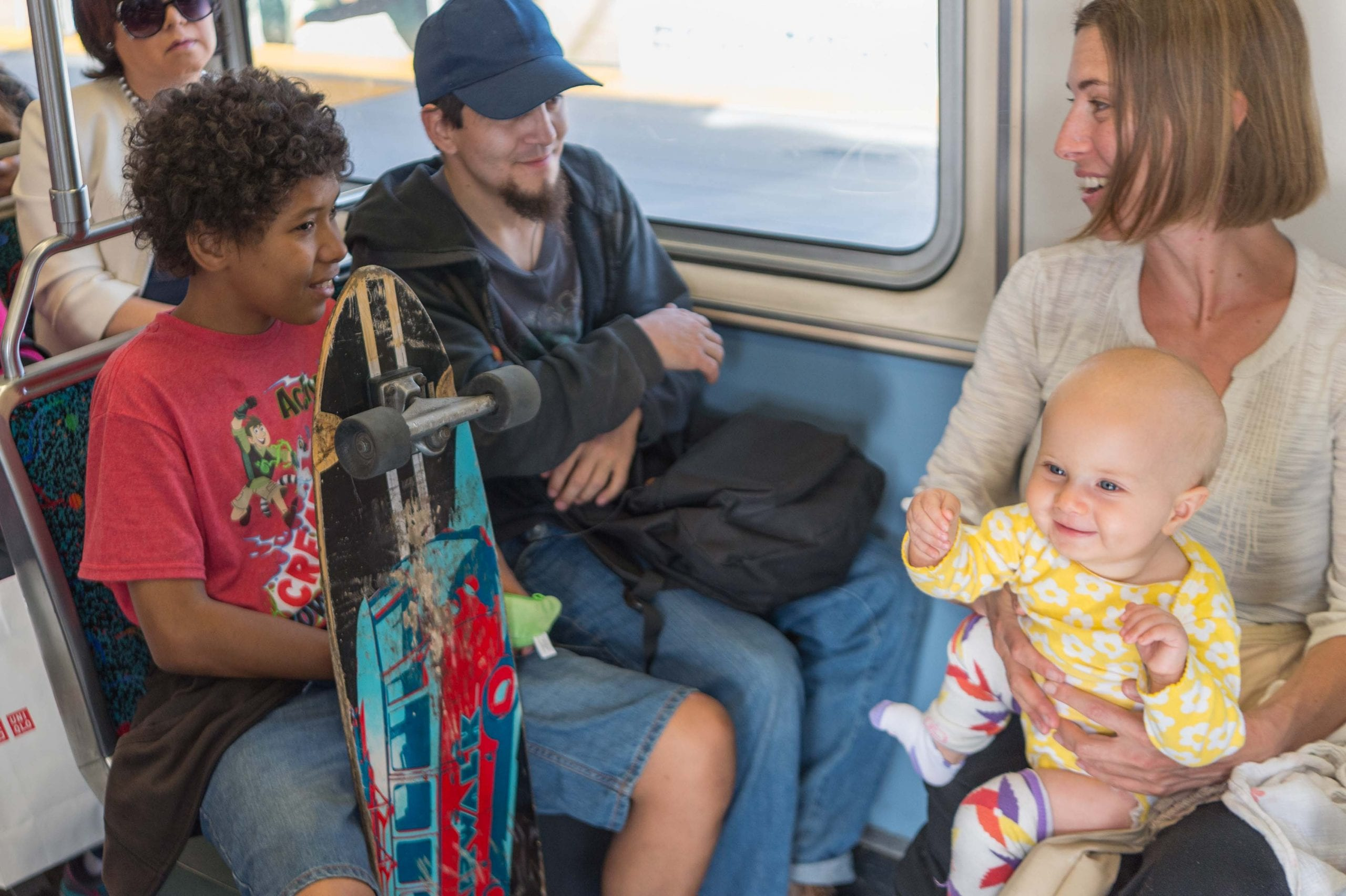 Babies + Transit on the Expo extension. Photo by Steve Hymon/Metro.