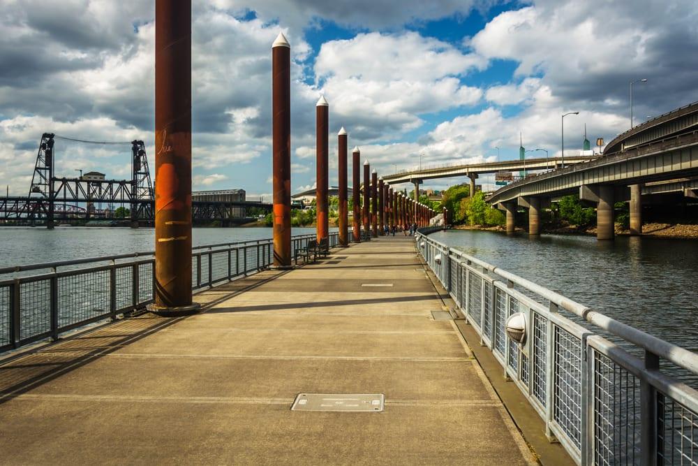 The Eastbank Esplanade in DTPO. A novel idea: a bike path along a major river. Credit: Biketown.com