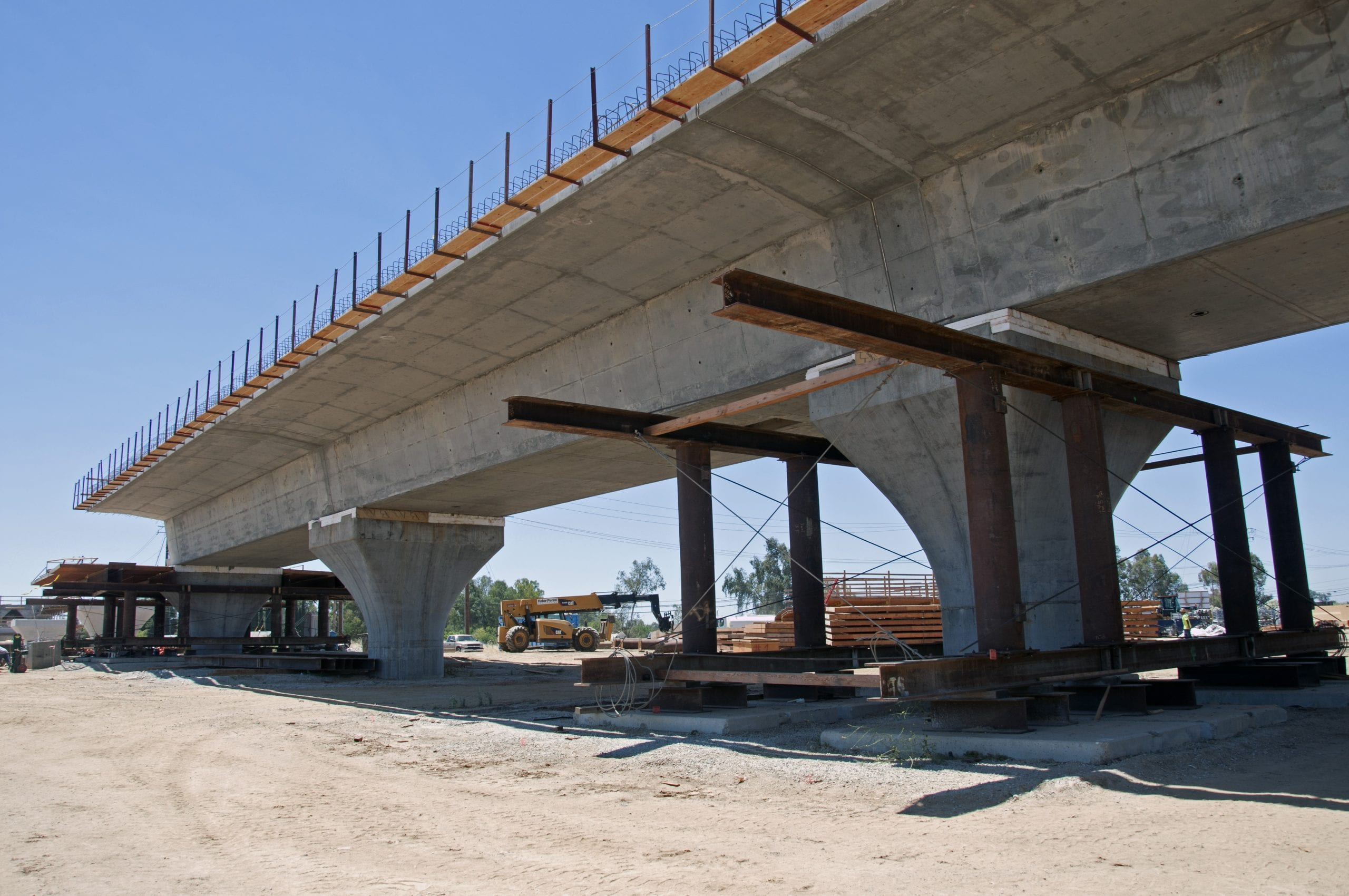 A bridge that would take bullet trains over the Fresno River takes shape. Photo: California High-Speed Rail Authority.
