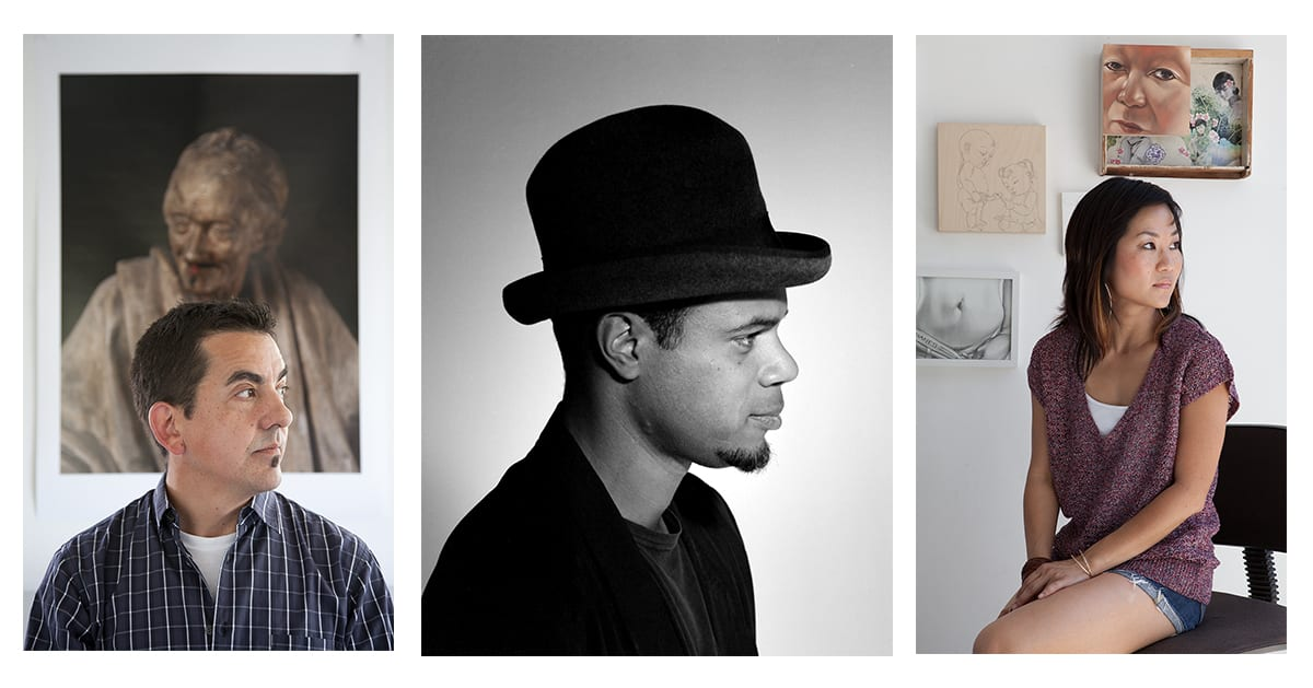 Left to right: Artists Ken Gonzales-Day, Todd Gray and Phung Huynh