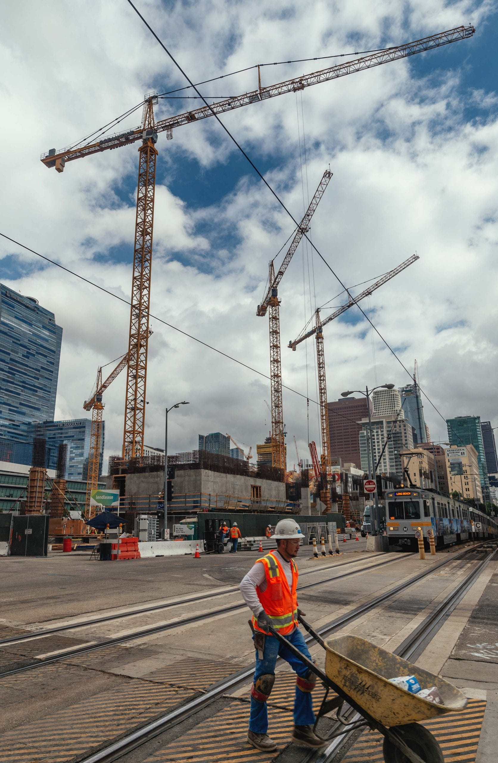 The Blue Line and new building construction near Staples Center and LA Live. Photo by Steve Hymon/Metro.