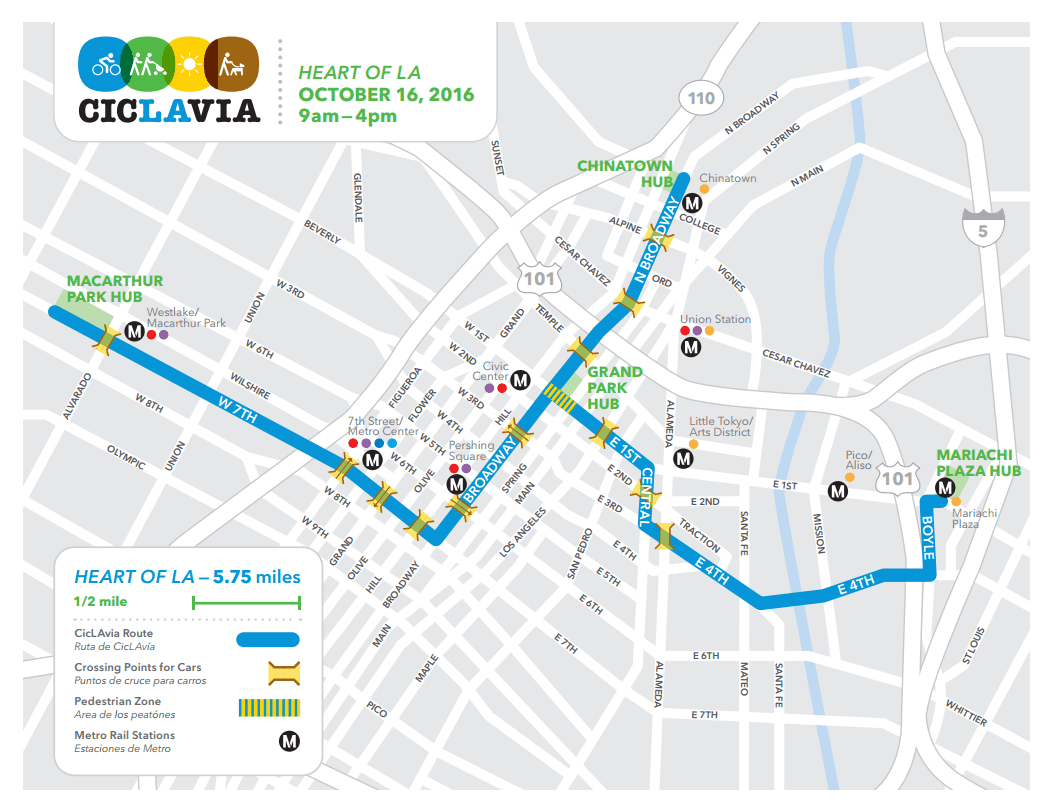 ciclavia 2016 map