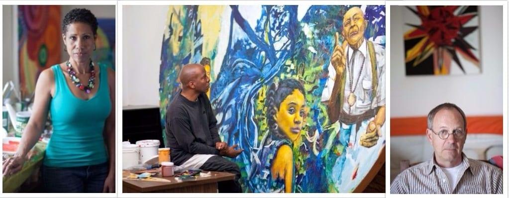 Left to right: Artists June Edmonds, Michael Massenburg and Roy Dowell
