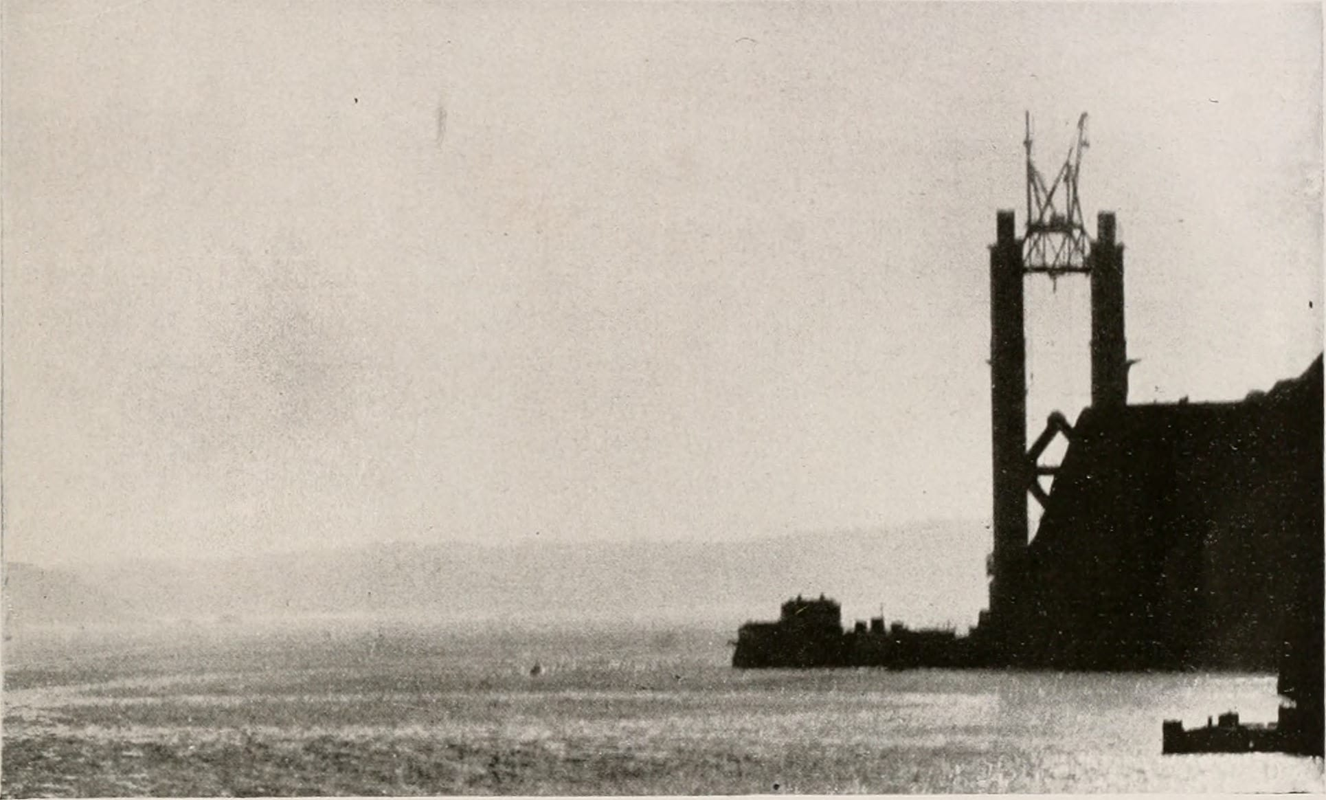 Early construction of the Golden Gate Bridge, the type of big mega-project some would like to see get built under President Trump.