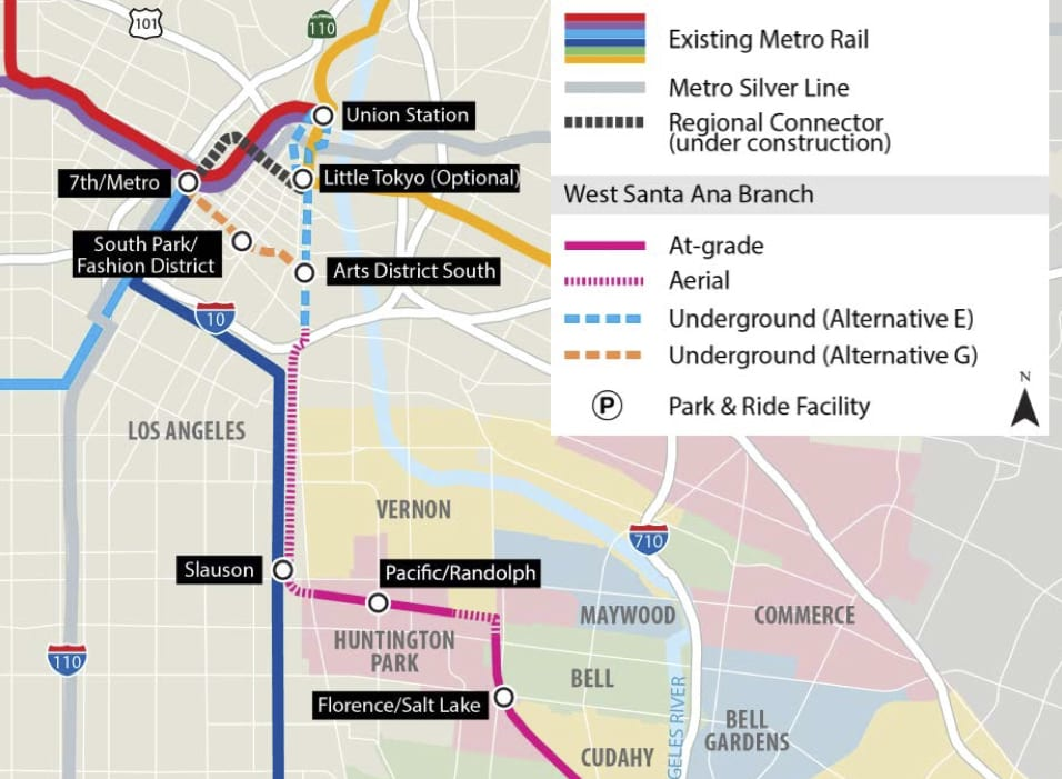 La Subway Map Red Line.Metro Board To Consider Refinements To Artesia To Dtla Light Rail