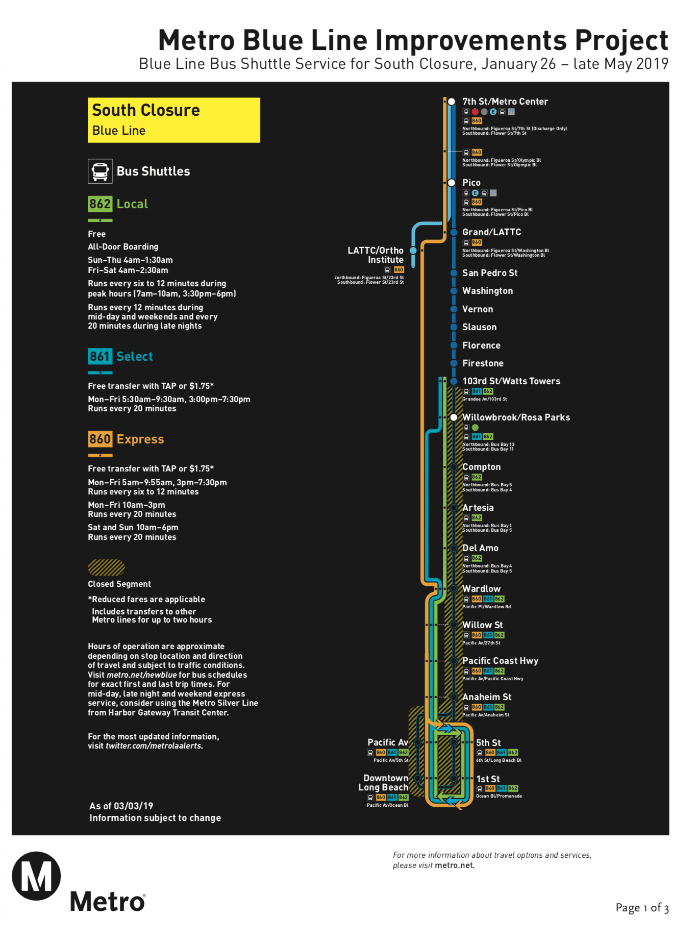 Blue Line south closure update - changes to shuttle schedules to start March 3 - The ...